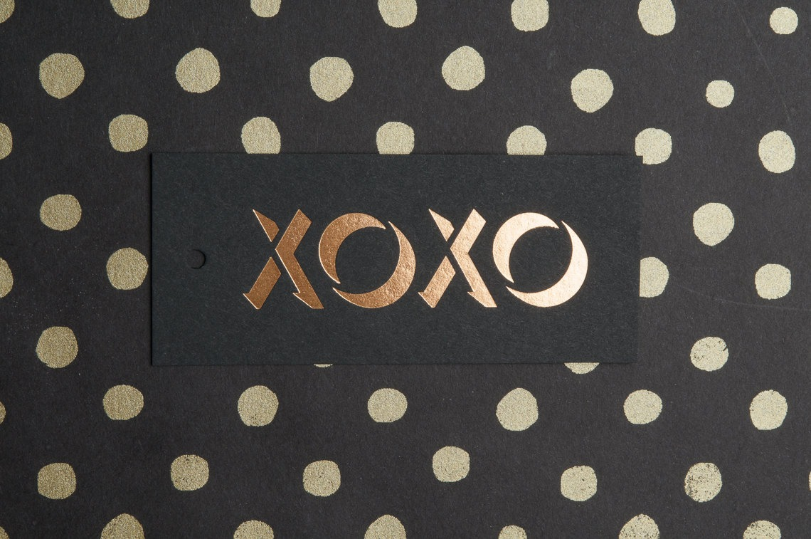 XOXO Gold Foil Gift Tag