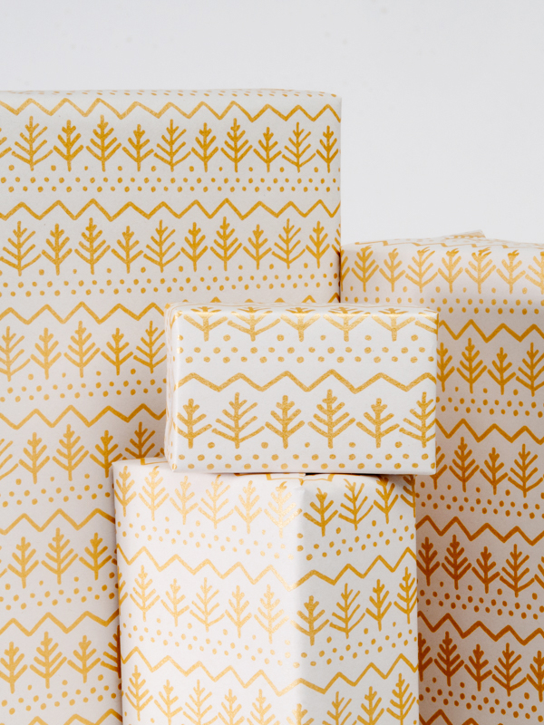 Pine Tree Gift Wrap / Gold on White