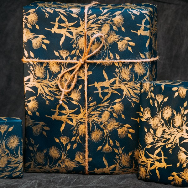 Bouquet of Gold Navy-Gold wrapping paper