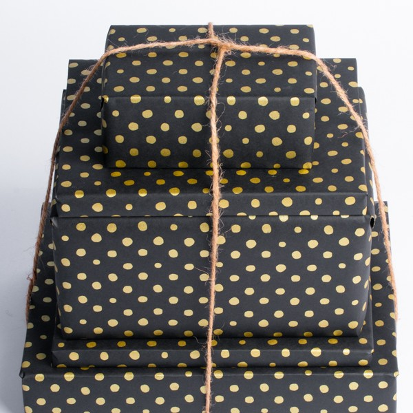 Gold Dots on Black Gift Wrap
