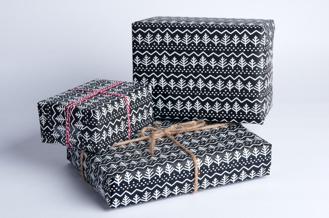 Pine Tree Gift Wrap / White on Black