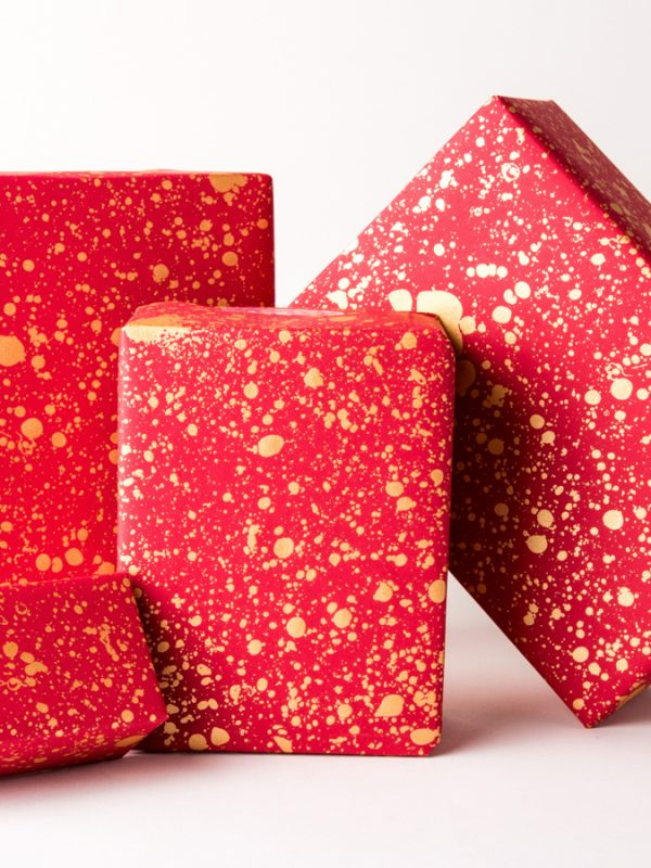 Gold Drops Gift Wrap Red
