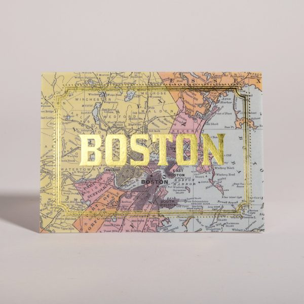 Boston Massachusetts Gold Foil Cards City Map