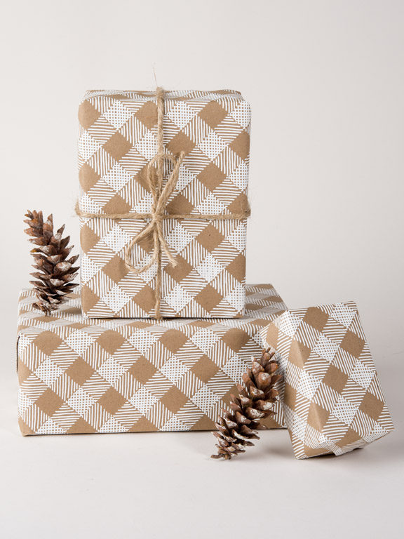 Plaid Gift Wrap,Wrapping Paper,Kraft Paper,Plaid,Screen Printed