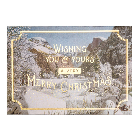 Yosemite Winter Christmas Card, Gold Foil, Card
