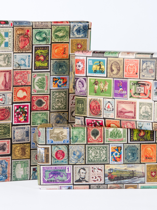 Vintage Postage Stamp Wrapping Paper