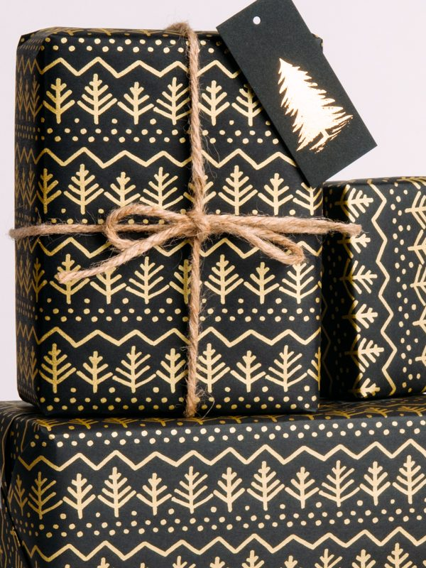 Gold Pine Tree Wrapping Paper