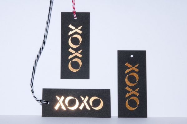 XO Gold Foil Gift Tag