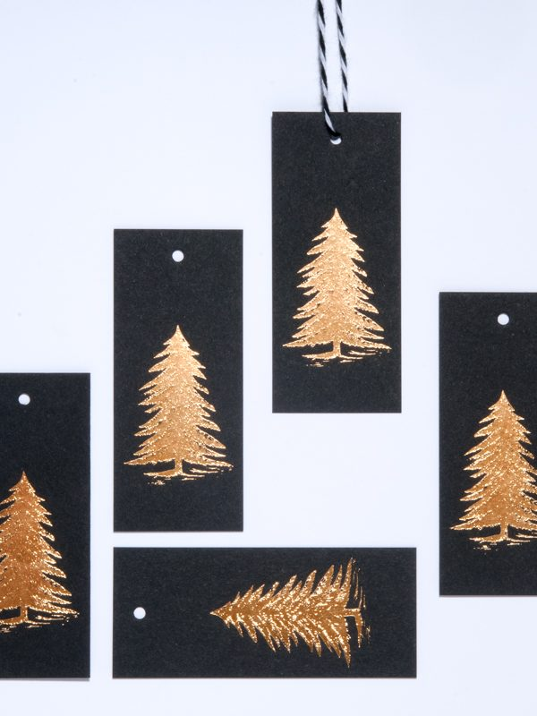 Gold Foil Christmas Tree Gift Tag