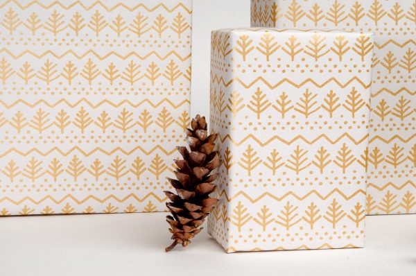 Pine Tree Gift Wrap / Gold on White