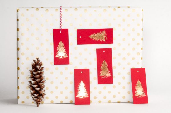 Fir Tree Gift Tags / Red & Gold