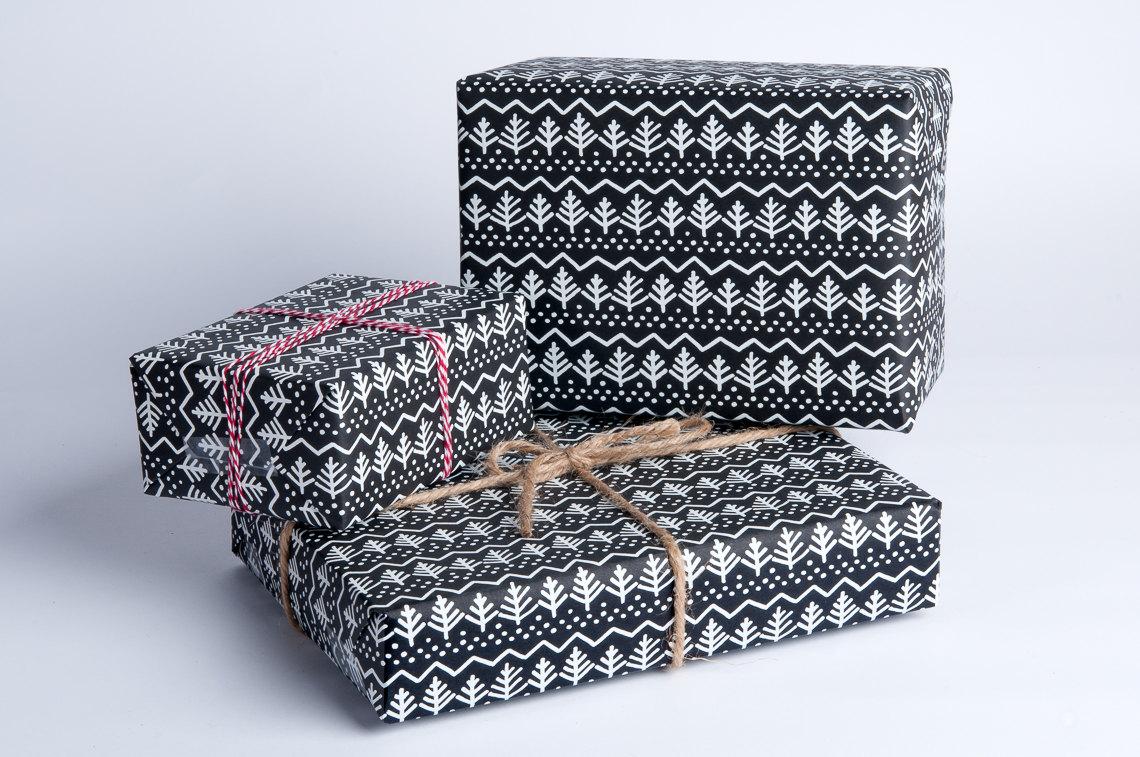 Pine Tree Gift Wrap / White on Black