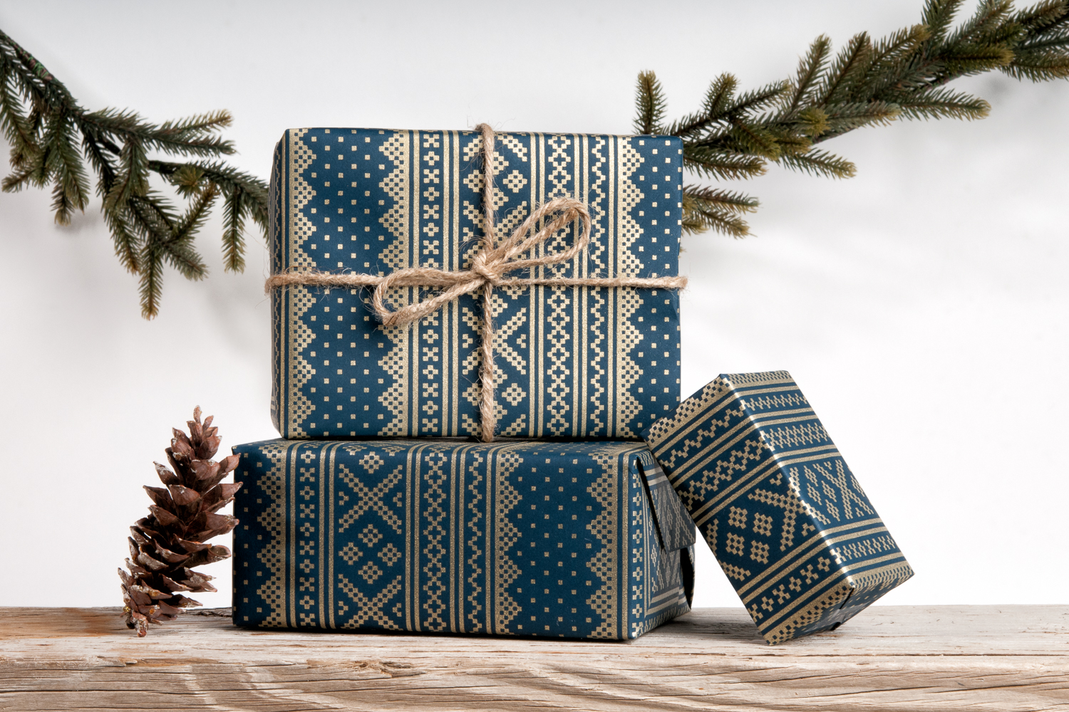 Scandinavian Winter Sweater Wrapping Paper Blue