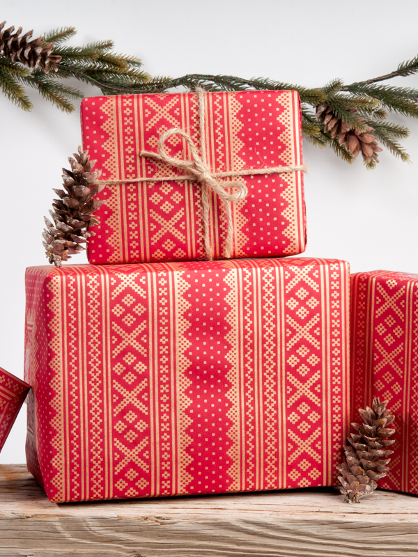 Scandinavian Winter Sweater Wrapping Paper Red