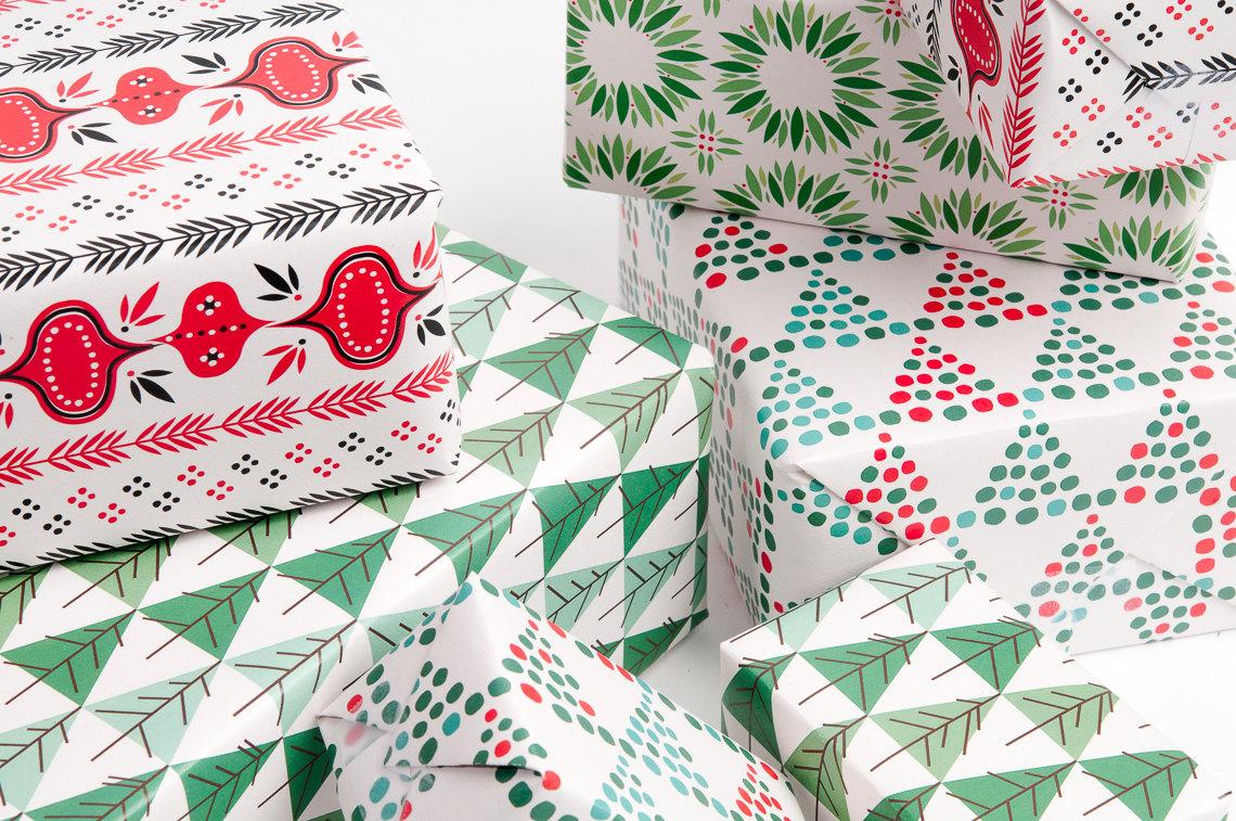 mid century modern christmas gift wrap