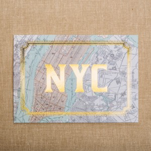 New York City Card Gold Foil Vintage Map