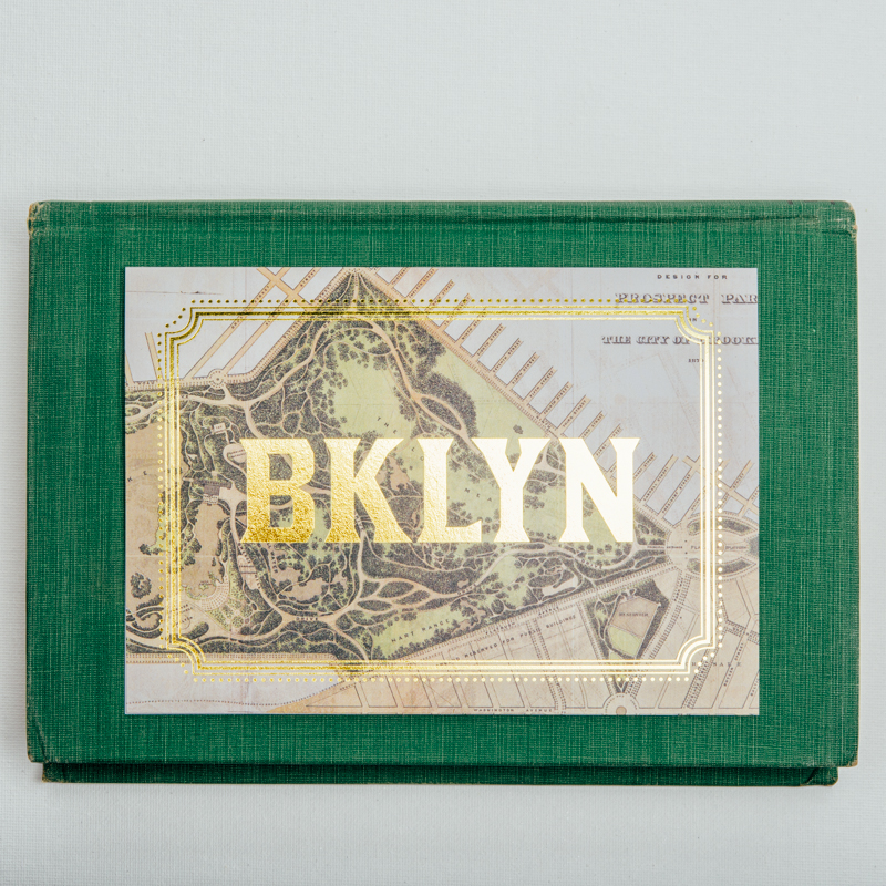 Brooklyn Card Gold Foil Vintage Map