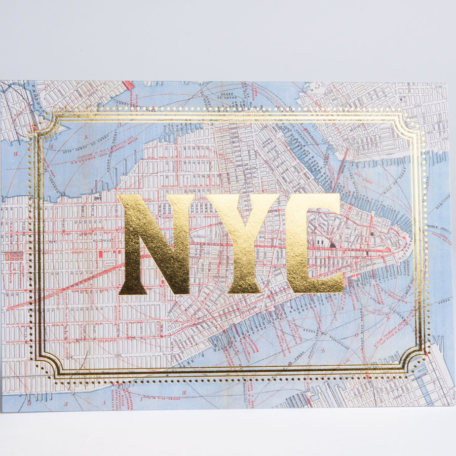NYC Gold Foil Cards New York City Map