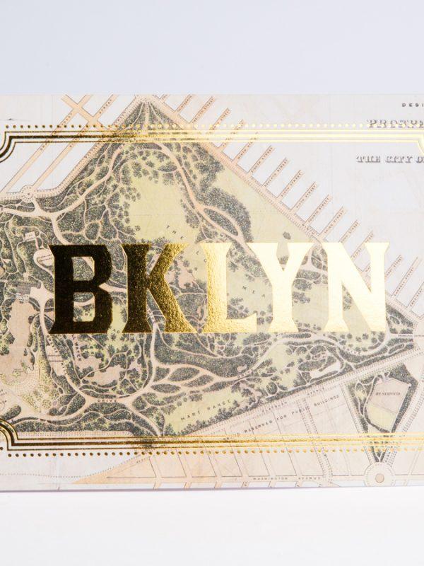 Brooklyn Gold Foil Card Brooklyn Map Prospect Park