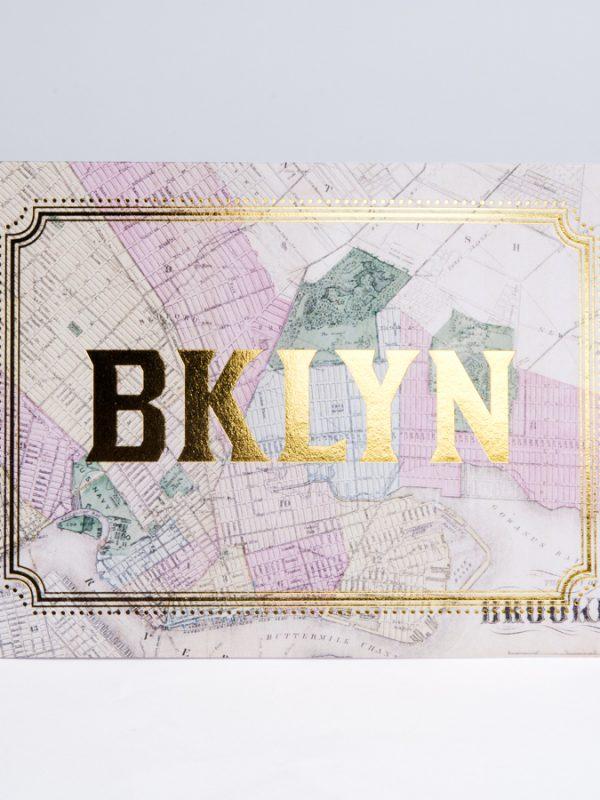 Brooklyn Gold Foil Card Brooklyn Map