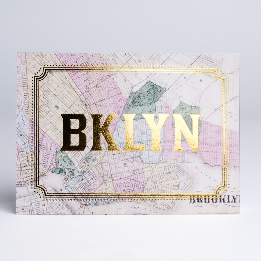 Brooklyn Gold Foil Card Brooklyn Map