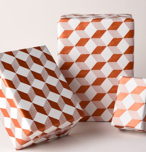 Cube Pattern Gift Wrap White Copper Geometric Pattern