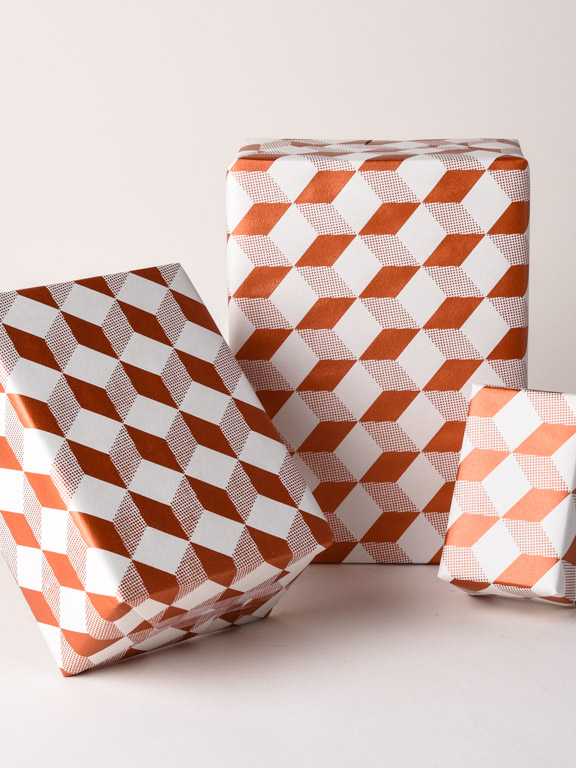 Cube Pattern Gift Wrap White Copper Geometric Pattern