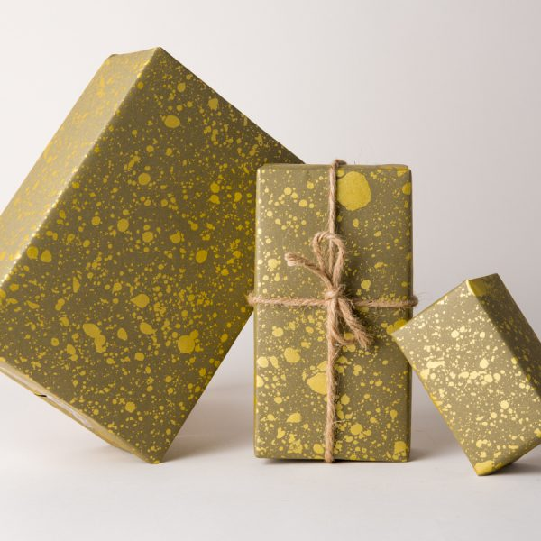 Gold Drops Gift Wrap Olive Green