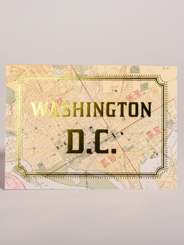 Washington DC Gold Foil Cards City Map District of Columbia