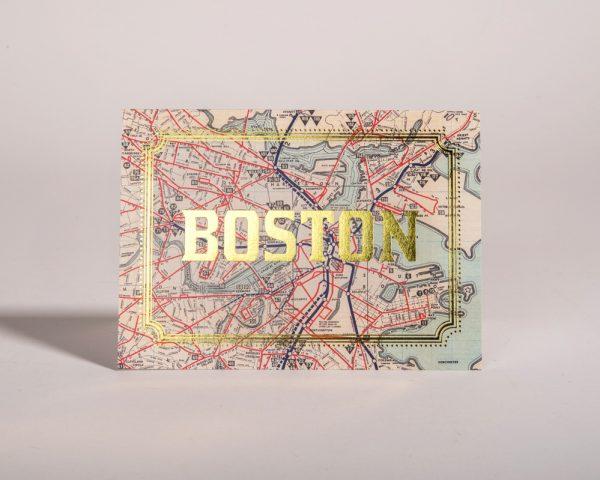 Boston Massachusetts Gold Foil Cards City Map