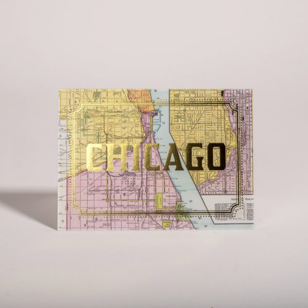 Chicago Illinois Gold Foil Cards Vintage City Map