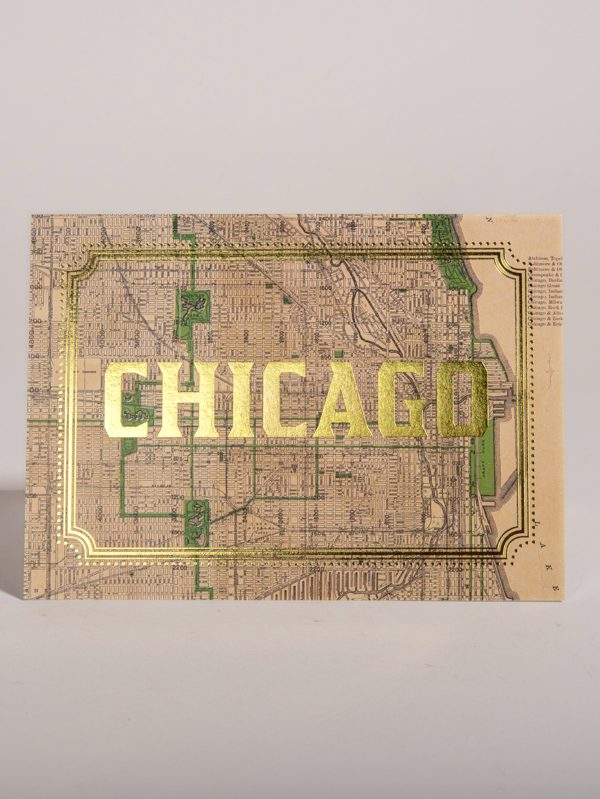 Chicago Illinois Gold Foil Cards Vintage City Map