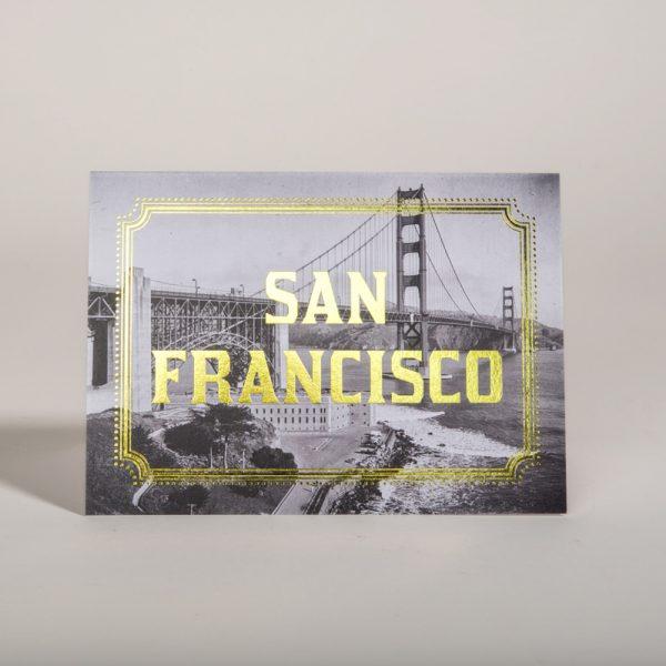 San Francisco Gold Foil Cards SF City California Golden Gate Bridge
