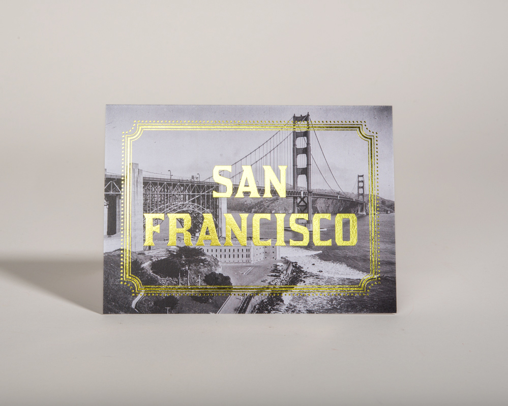 San Francisco Gold Foil Cards SF City California Golden Gate Bridge
