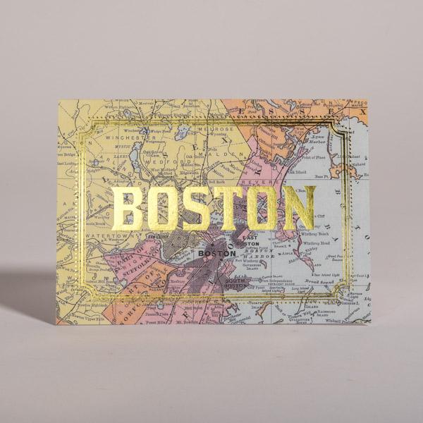 Boston Map Foil Stamp Card