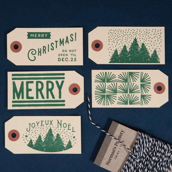 Christmas Letterpress Gift Tag Manila