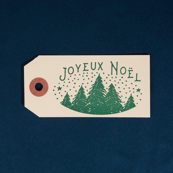 Christmas Letterpress Gift Tag Manila, Joyeux Noël