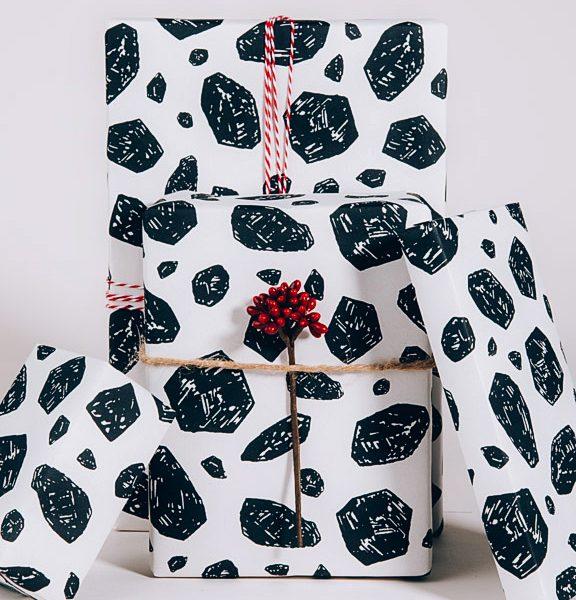 Coal Gift Wrap, Screen Print