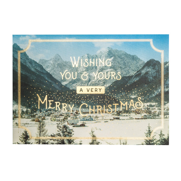 Winter Village Christmas Card, Gold Foil, Card