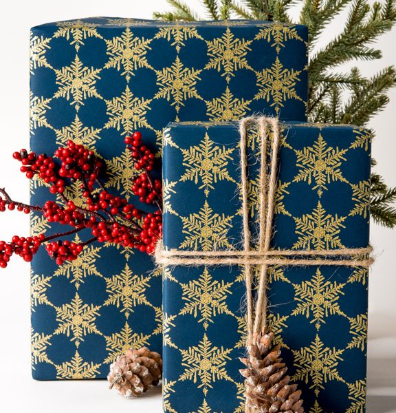 Snowflake Gift Wrap Blue Gold Screen Print Making