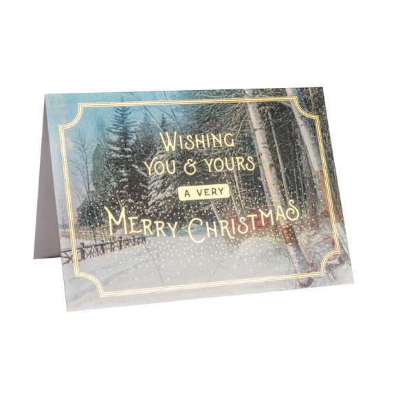 Winter Trail Christmas Card, Gold Foil, Card