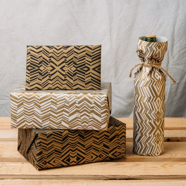 Gold Gift Wrap Handmade Wrapping Paper Newsprint