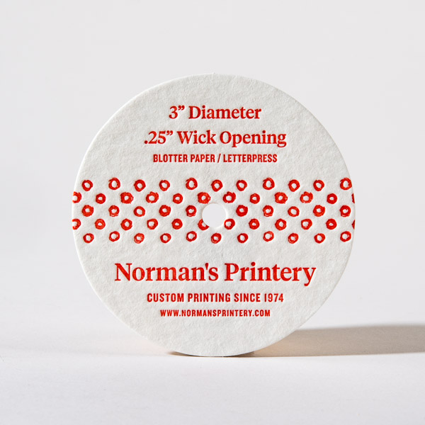Candle Dust Cover Norman's Printery Letterpress