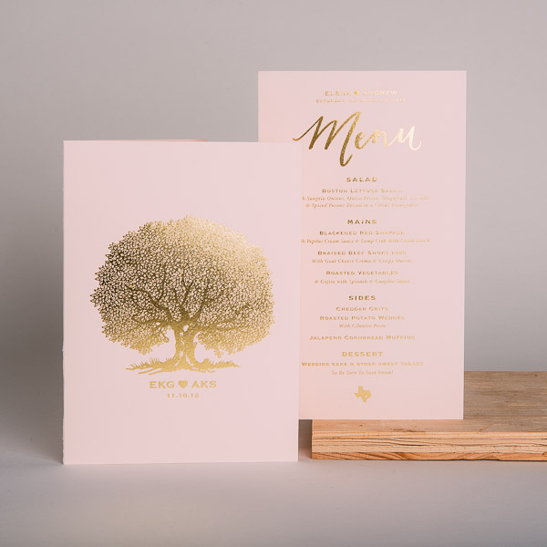 Gold Foil Wedding Invitation/Menu