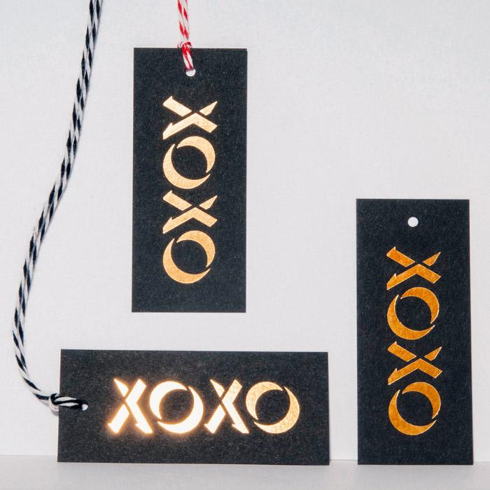 Gold Foil on Black Paper Hang Tags
