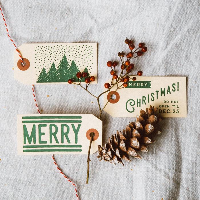 Custom Letterpress Christmas Hang Tags